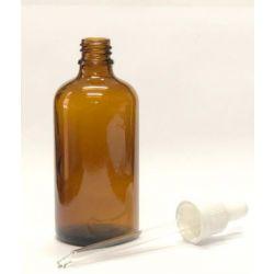 """בקבוק זכוכית חום עם פיפטת זכוכית 100 מ""""ל"""