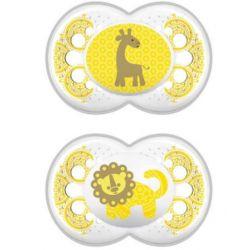 אנימלס זוג מוצצי סיליקון 6+ צהוב